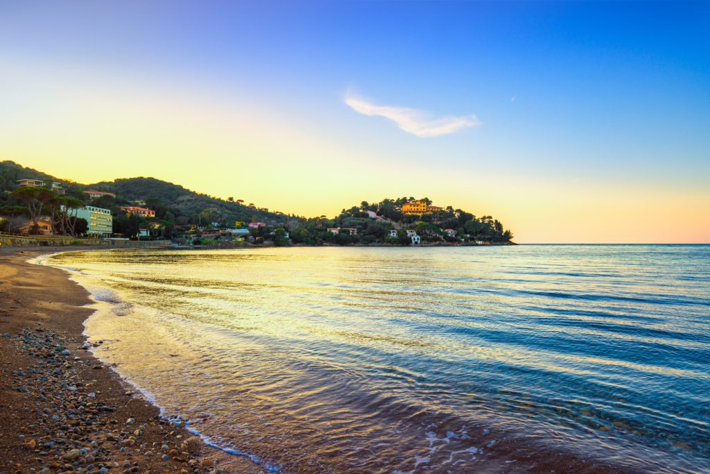 Porto Santo Stefano, headland and bay beach in Argentario, Tusca